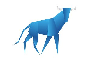 Young bull origami abstract isolated