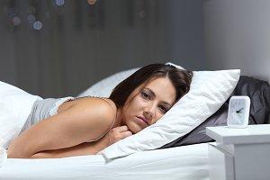 Restless girl suffering insomnia