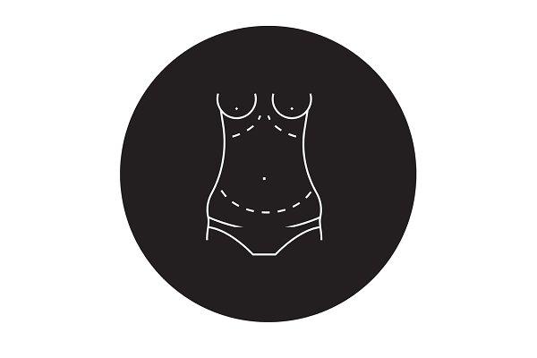 Abdominoplasty black vector concept