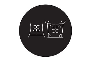Abs muscules black vector concept