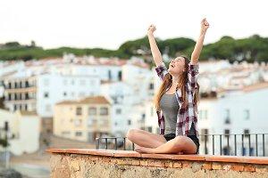 Excited teenage girl celebrating new