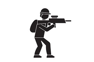 Aiming soldier black vector concept
