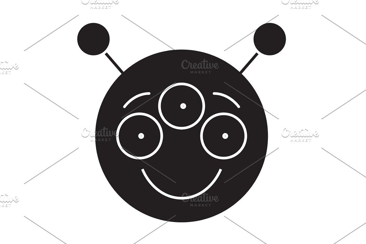 Alien emoji black vector concept