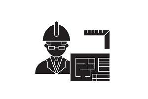 Architect builder black vector