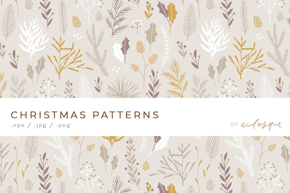 Christmas Floral Pattern Background Custom Designed Graphic