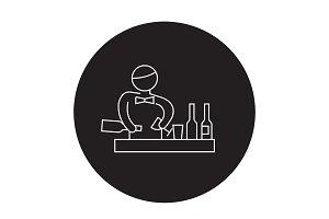 Bartender making cocktail black
