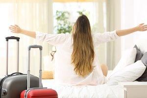 Traveler celebrating vacations