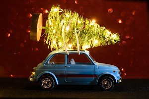 Car delivering Christmas or New Year