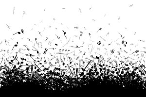 A lot of different musical notes