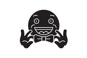 Bow tie emoji black vector concept