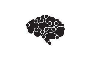Brain power black vector concept