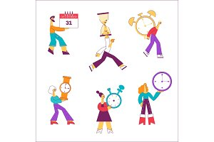 Vector flat people holding watche