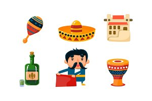 Mexico icons set, cute Mexican