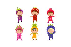 Kids in carnival costumes set, cute