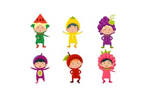 Kids in carnival clothes set, cute
