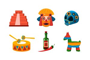 Mexico icons set, Mexican cultural