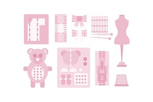Sewing and needlework pink icons