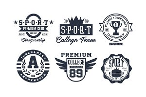 Sport college team logo design set