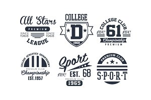Sport college club logo design set