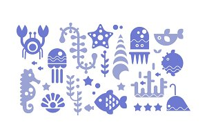 Marine life blue icons set, sea
