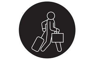 Business traveler walks black vector