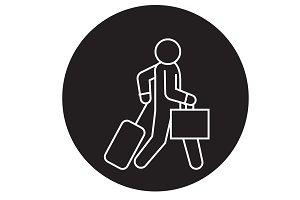Business traveler walks black vector