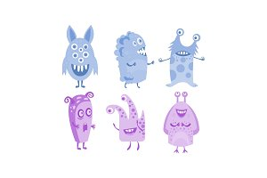 Cute monsters set, blue and purple