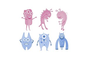 Colection of cute monsters, blue