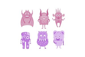 Colection of cute monsters, colored