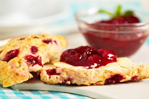 Scone with orange zest and berries