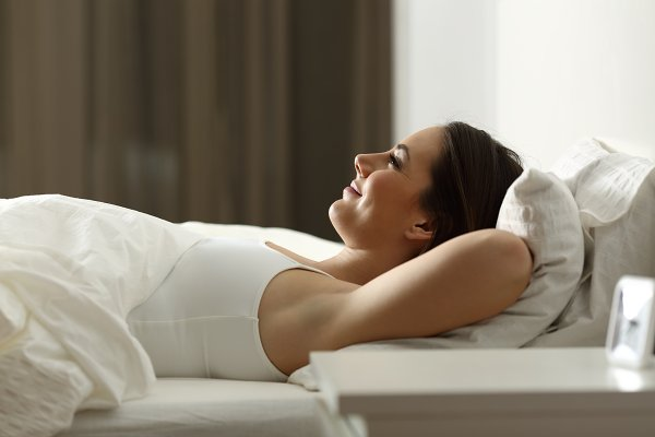 Woman relaxing sleeping at home