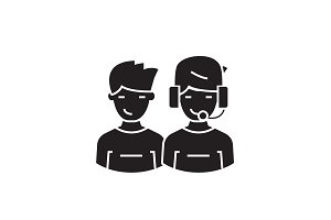 Call center operators black vector