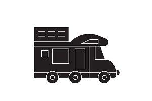 Camping van black vector concept