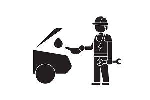 Car oil change black vector concept