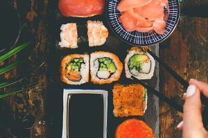 Flat-lay of sushi set