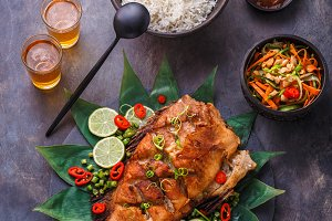 Thai cuisine deep fried fish with