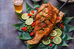Deep fried whole fish with spicy