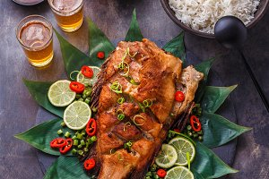 Crispy whole thai fried fish with