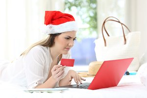 Confused woman paying online