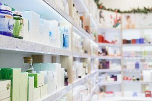 Shelves with skin and hair care