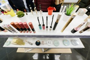 Mascara and skin care testers in the