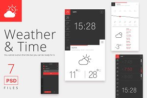Weather and Time App PSD