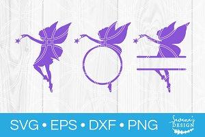 Fairy SVG Split Monogram SVG