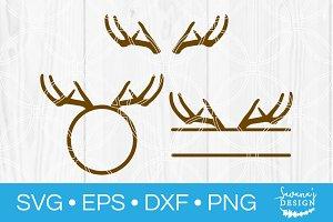 Deer Antlers SVG Cut File Monogram