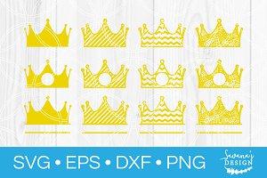 Crown SVG Bundle Circle Monogram SVG