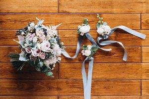 Beautiful wedding flowers on wood