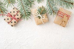 Christmas border of christmas gifts