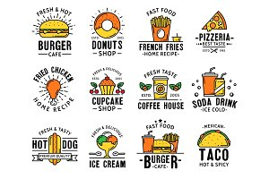 Fast food menu and takeaway icons