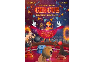 Big tent circus, performers, animals