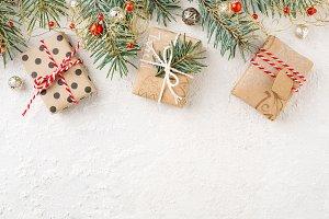 Christmas frame of christmas gifts.